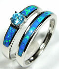 London Blue Topaz & Blue Fire Opal Inlay 925 Sterling Silver Solitaire Band Ring
