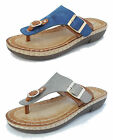 Womens Ladies Leather Look Toe Post Flip Flops Cushion Comfort Sandals Buckle