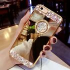 iphone 6 / 6s case Bling glitter Ring diamond TPU Soft crystal cover stand Gold