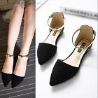 New Women's Pointed flats suede shoes Large Size