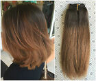 Short Bob Full Head Clip in Real Human Hair Extensions, Ombré Hairpieces 80grams