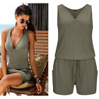 New Women's Zip Sleeveless Jumpsuit Short Pant Playsuit Vest Sleeveless Romper