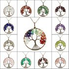 Natural Amethyst Labradorite Lapis Chips Beads Tree of Life Pendant Necklace
