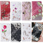Hot Bling Rhinestone Crystal Leather Flip Wallet Cards Case Leather Cover For LG
