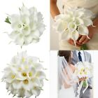 12x Artificial Real Touch Calla Lily Fake Flowers for Wedding Bride Bouquet Deco