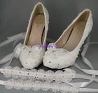 White ivory low / high heel lace bow crystal pearl Wedding shoes bride size 3-7