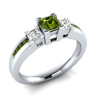 925 Silver Jewelry Princess Cut Peridot Women Fashion Wedding Ring Size 6-10 image