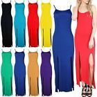 Ladies Womens Split Cut Out Double Sleeveless Thin Strappy Camisole Maxi Dress