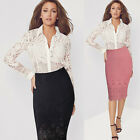Womens Elegant Hollow Out High Waist Wear to Work Stretch Bodycon Pencil Skirt