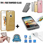 Luxury-Bling Glitter Soft Thin Rubber Case TPU-Cover For iPhone+Tempered Glass