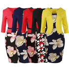 S-4XL Women Floral Vintage Office Wear To Work Party Bodycon Pencil Career Dress