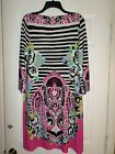 EUC   ECI New York Striped/Floral Shift Dress Size 12 Women's