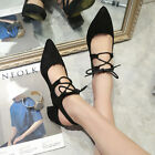 New Women's Summer Strappy Mid Heel Sandals Pointy Toe Lace Up Antiskid Shoes