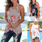 New Women Top Plus Size Floral Print Sleeveless Beach Party Picnic Tops S/M/L/XL