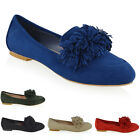 NEW WOMENS SLIP ON FLAT FRINGE PUMPS LADIES FAUX SUEDE BALLET LOAFERS SHOES