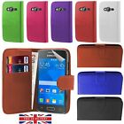 Genuine Flip Book Wallet Case Cover Smooth PU Leather Samsung Galaxy Smartphones