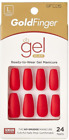 KISS GOLD FINGER GEL GLAM MANICURE GLUE ON OVAL 24 NAILS-GFC05 RED