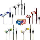 BRAIDED NO TANGLE EARBUD 3.5mm HEADPHONES PHONE MIC MUSIC CONTROL LOT 5 COLORS!