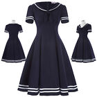 Vintage 50s Short Sleeve Ball Gown Lapel Collar Sailor Swing Party Evening Dress