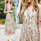 Womens Inspired Flower Embroidery Mesh Party Gown Wedding Maxi Long Dress