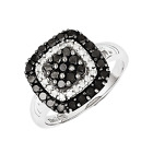 925 Sterling Silver Black & White Diamond Cushion Form Cluster Ring - 1 Cttw