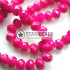 FACETED RONDELLE CRYSTAL GLASS BEADS OPAQUE DEEP PINK (COATED) 4MM,6MM,8MM,10MM
