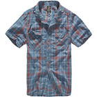 Brandit Roadstar Mens Check Cotton Flannel Shirt Short Sleeve Work Top Red Blue