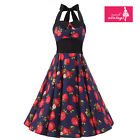 Women's Blue Strawberry Floral Vintage Buttons Halterneck 50s Rockabilly Dress