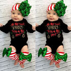 Baby - Newborn Infant Baby Girl Romper Bodysuit+Leg Warmer Outfits Striped Clothes Xmas