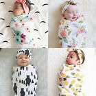 Newborn Baby Infant Swaddle Blanket Sleeping Swaddle Muslin Wrap+Headband US b