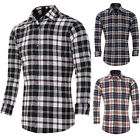 Mens Comfy Flannel Cotton Formal Dress Casual Plaid Shirts T Shirt Tops Gifts ;