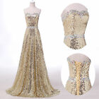Shiny Glamour Long Sequined Wedding Evening Ball Gown Party Prom Formal Dress