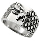 Navy Eagle Ring Polished Diamond Pattern Stainless Steel