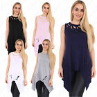 Womens Ladies Sleeveless Distressed Ripped Flared Hanky Hem Plain T Shirt Top