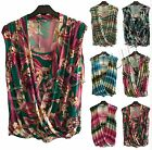 New Womens Ladies Italian Wrap Floral Cross Over Dipped Hem Dress Sleeveless Top