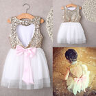 Sequins Baby Flower Girl Dress Party Gown Bridesmaid Dresses Sundress US Stock