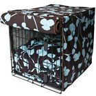 """Molly Mutt """"Your Hand in Mine"""" Brown/Blue Dog Crate Cover~100% Washable Cotton"""