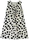 Mini Boden girls cute summer white / black spot dress lined party dalmation