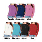 Womens Ladies Chiffon Round Neck Long Sleeve Shirt Casual Blouse Tops Fashion