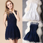 Women Lace Crochet O-neck Patchwork Sleeveless Tank Slim Dress Party Dress