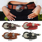 "Women High Leather Narrow Skinny Waist Belt Round Pin Buckle 0.6"" Casual Retro"
