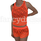 Mesh 80s Disco Top Shorts Fancy Dress Accessory Beach Rave Neon Party Orange