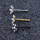 1pc Surgical Steel Nose Ring Stud Crystal Rhinestone Flower Style Jewelry