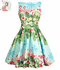 LADY VINTAGE 50's FLAMINGO BORDER TEA day SHORT vintage style DRESS BLUE