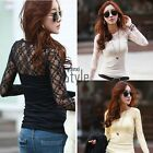 Women Crew Neck Lace Floral Embroidery T-shirt Long Sleeve Shirt Tops Blouse TXS