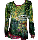 CLAUDE MONET Japanese Bridge Waterlilies PAINTING LS T-SHIRT FINE ART PRINT