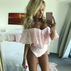 Women Lace Off Shoulder Jumpsuit Ruffles Bodysuit One Piece Strapless Rompers