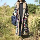 New Womens Warm Fur Lined Full Length Floral Hoodie Coats Jackets Cotton Padding