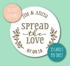 SPREAD THE LOVE wedding stickers personalised name favours jam jars chutney S7