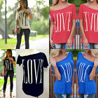 Womens Letter Printed Loose Short Sleeve Cotton Casual Blouse Shirt Tops T-shirt